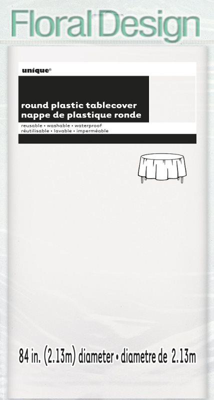 Plastový ubrus 210 cm stříbrná