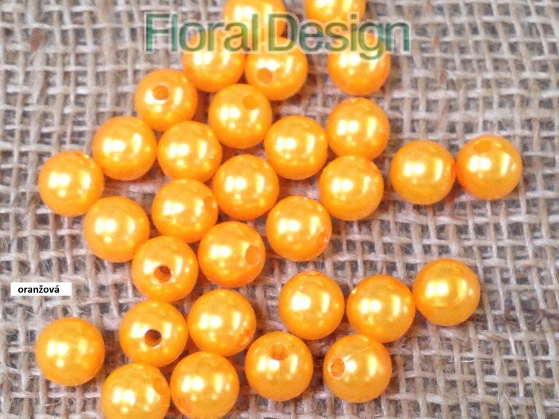 Perličky 10mm / 120ks oranžová