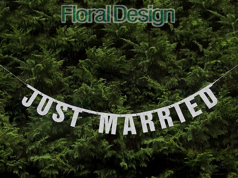 "Banner 19 x 170cm  ""Just Married"""