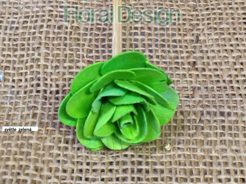 Wood rose 4cm na stopce 10 ks sv.zelená