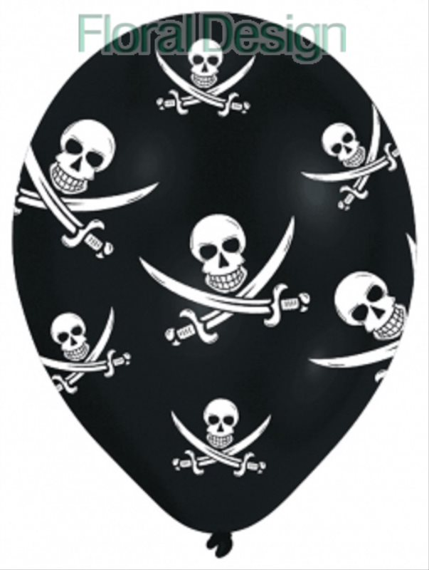 Balonek latexový 28cm Jolly Roger 6ks