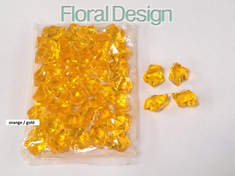 Diamant plast 20mm orange/gold