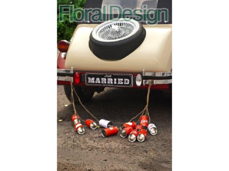 Svatební plechovky za auto RETRO 5 ks červená
