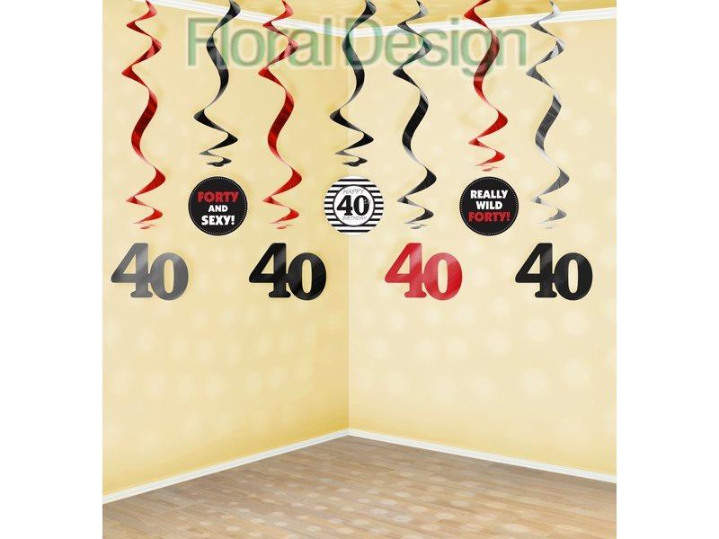 """Swirls 60 cm """"40-narozeniny"""" 7ks"""