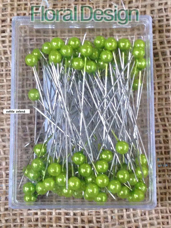 Perličky 6mm / 65mm na špendlíku 100ks světle zelená