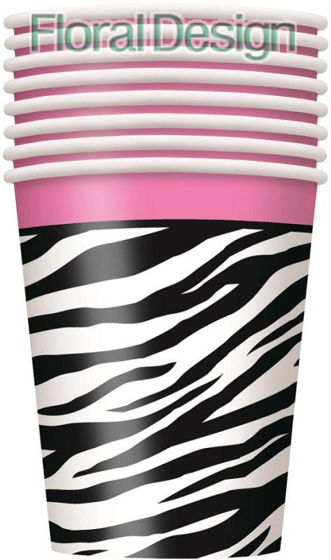 """Papírový kelímek """"Zebra"""" 270ml., 8ks"""