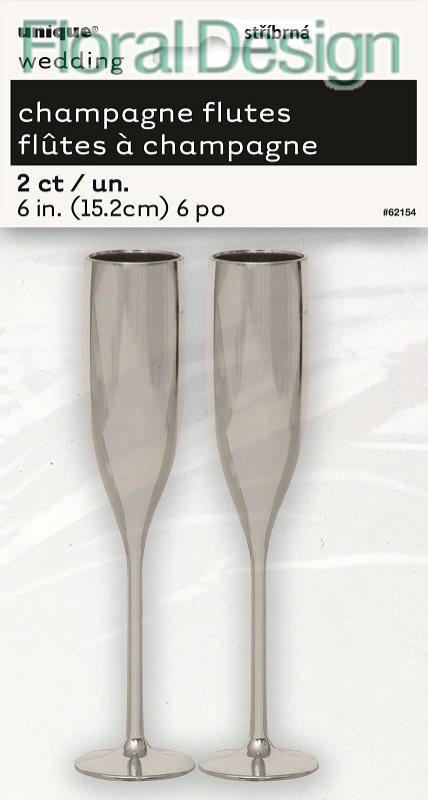 Plastová sklenička Champagne 2ks stříbrná