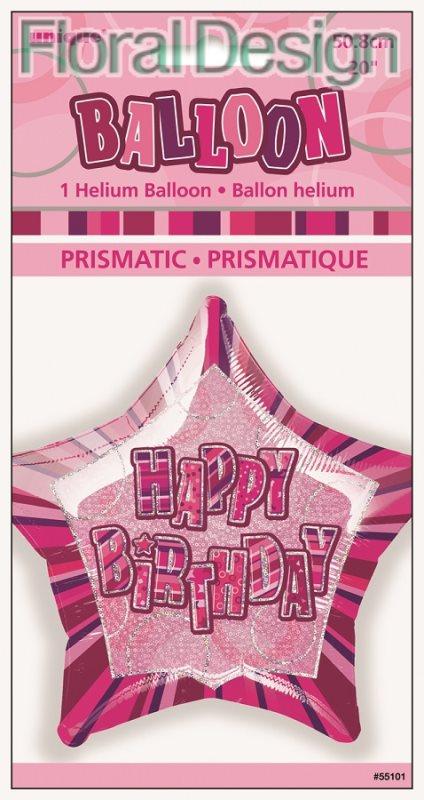 "Balonek 50cm ""Happy Birthday"" růžová"