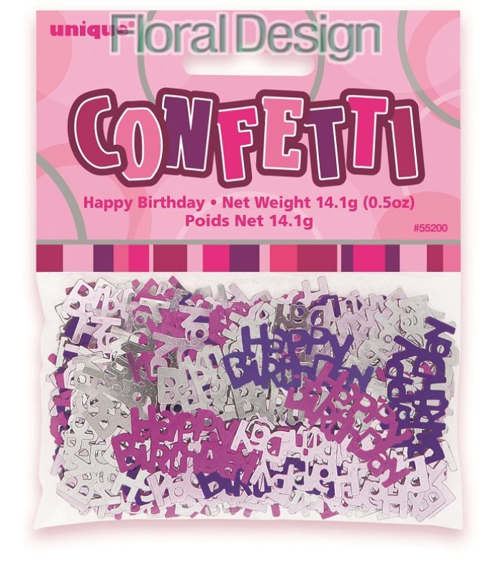 """Konfety """"Happy Birthday"""" růžová"""