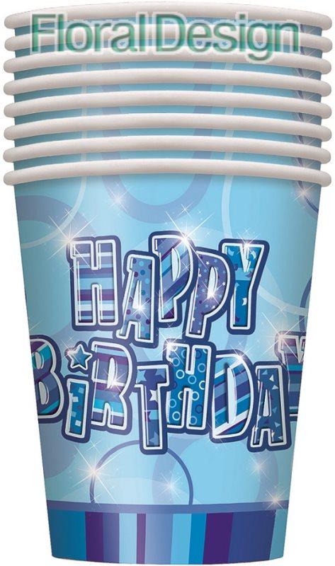 """Papírový kelímek """"Happy Birthday"""" modrá"""