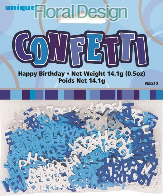 """Konfety """"Happy Birthday"""" modrá"""
