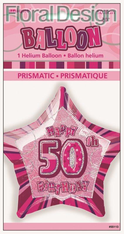 """Balonek 50cm folie """"50-narozeniny"""" růžová"""