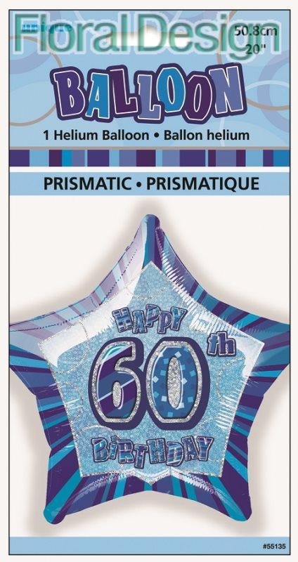 """Balonek 50cm folie """"60-narozeniny"""" modrá"""