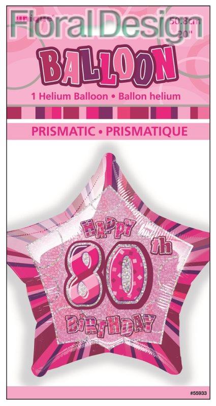 """Balonek 50cm folie """"80-narozeniny"""" růžová"""