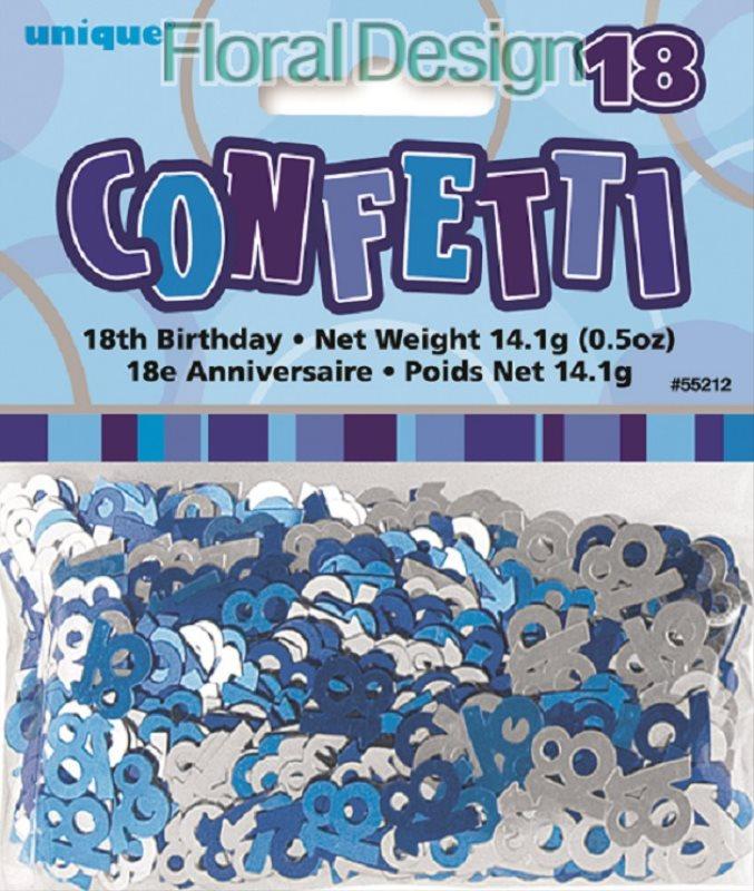 """Konfety """"18-narozeniny"""" modrá"""