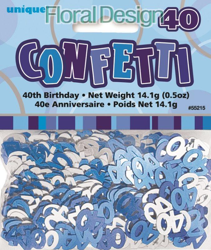 """Konfety """"40-narozeniny"""" modrá"""