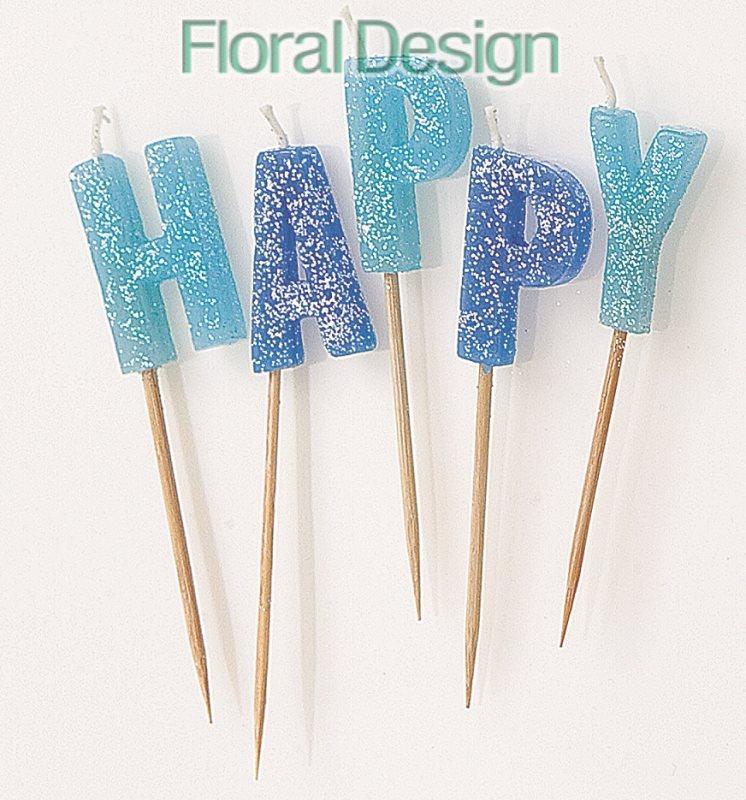 Happy birthday glitter svíčky modrá