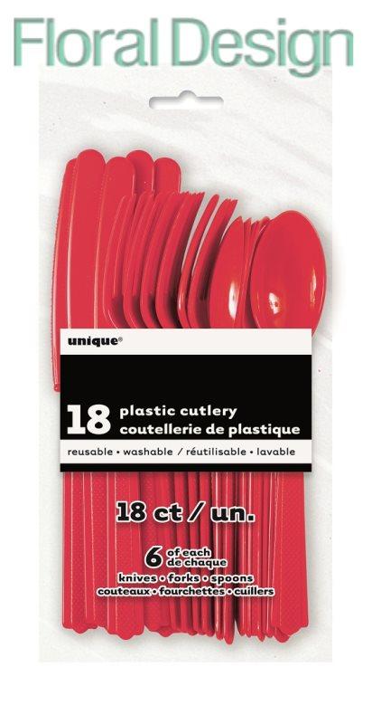 Plastový příbor, sada 18 ks červená