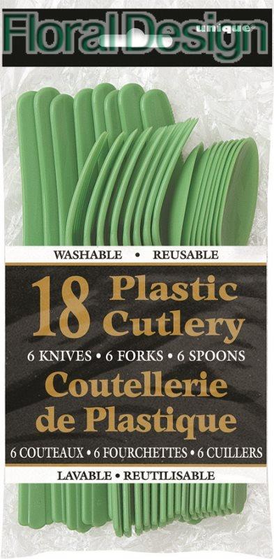 Plastový příbor sada 18 ks zelená