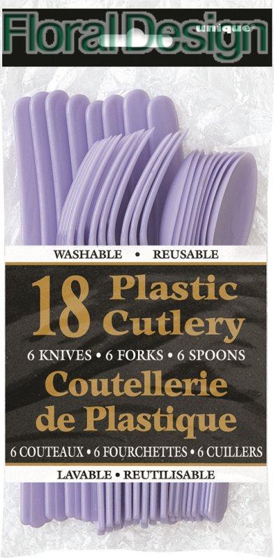 Plastový příbor sada 18 ks lila