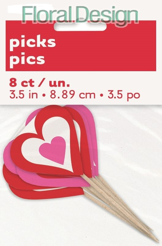"Zápich na supcake 10cm ""Srdce"" 8ks"