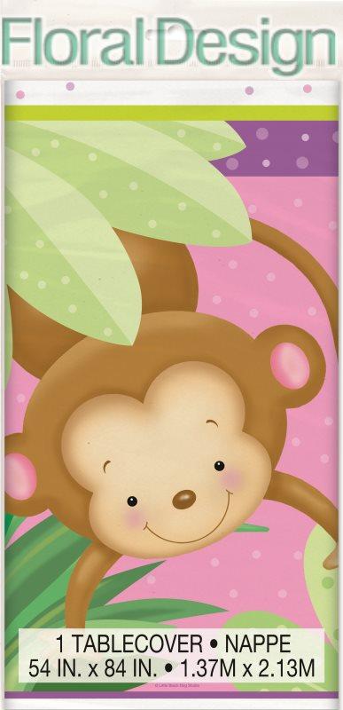 """Plastový ubrus 135 x 210cm """"Opičky"""" pink"""