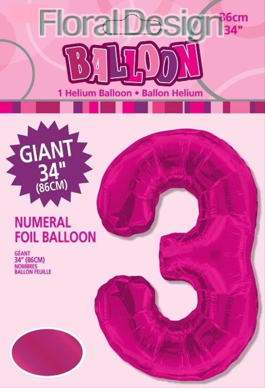 """Balonek folie 86cm číslice """"3"""" růžová"""