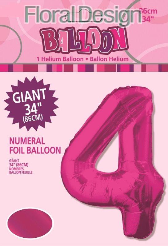 """Balonek folie 86cm číslice """"4"""" růžová"""
