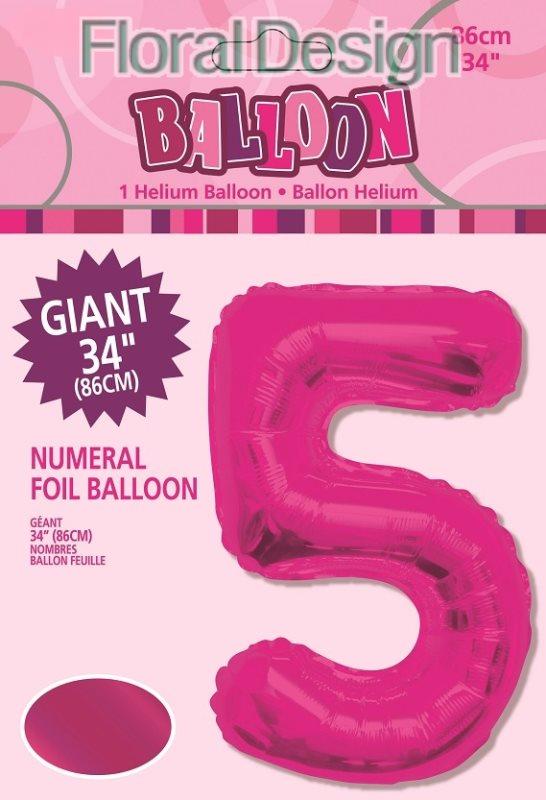 """Balonek folie 86cm číslice """"5"""" růžová"""