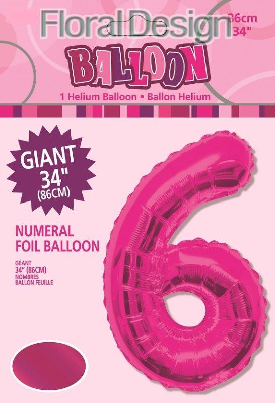 """Balonek folie 86cm číslice """"6"""" růžová"""