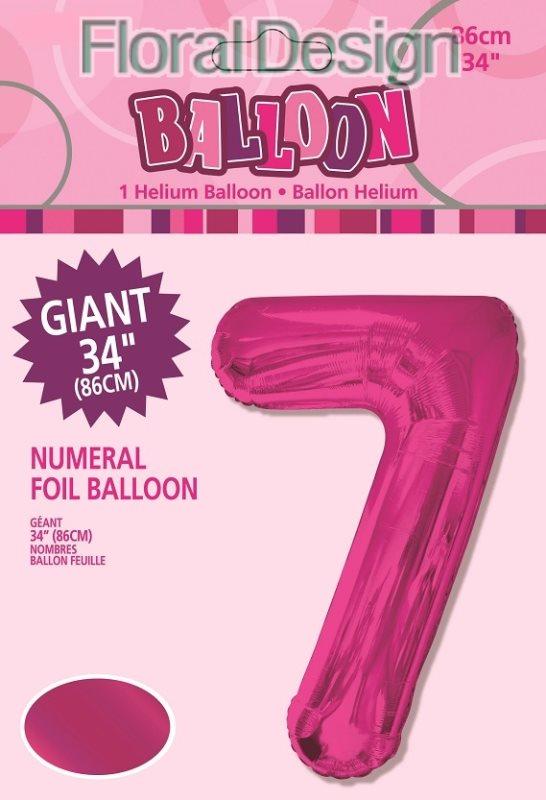 """Balonek folie 86cm číslice """"7"""" růžová"""