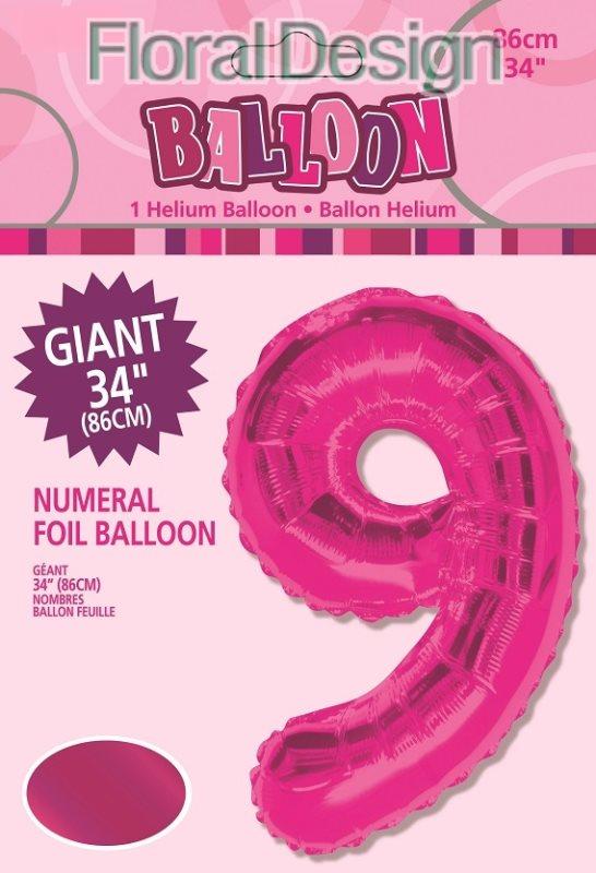 """Balonek folie 86cm číslice """"9"""" růžová"""