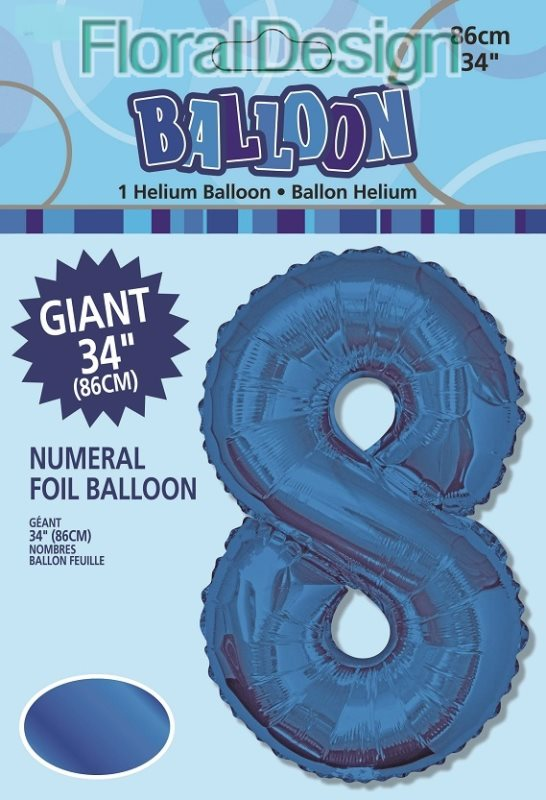 "Balonek folie 86cm číslice ""8"" modrá"