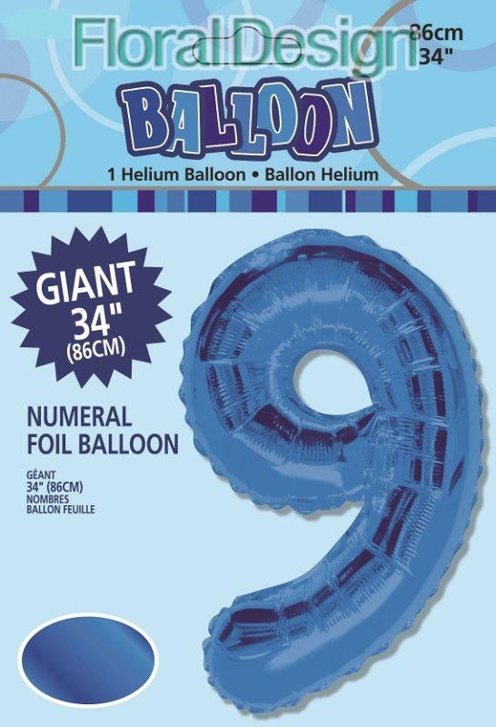 "Balonek folie 86cm číslice ""9"" modrá"