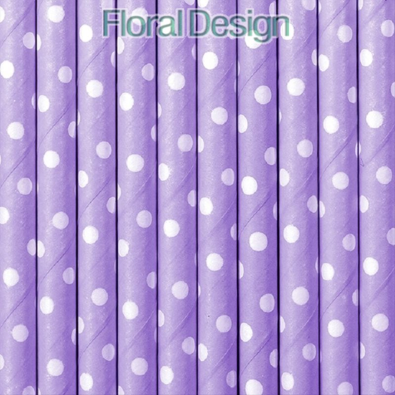 Brčka papírová - puntík 10ks lila