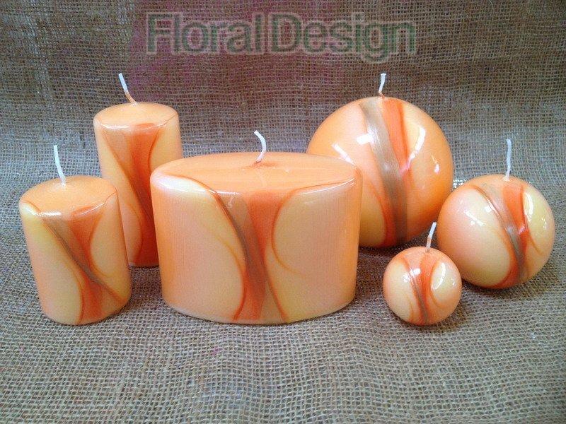 Svíčka Linea koule 8cm oranžová