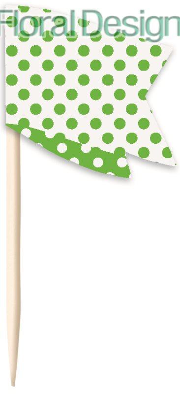 Košíček na cupcake + zápich 24 ks zelená