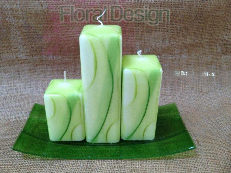 Svíčka Melody hranol 10cm zelená